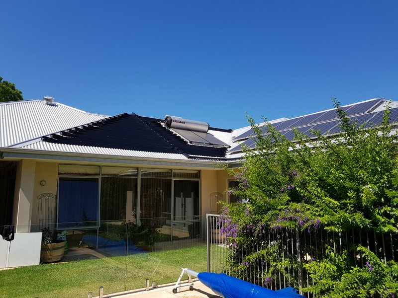 solar pool heating system installation with solar power panels and solar hot water