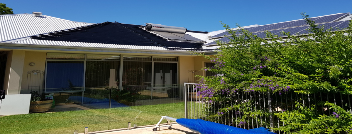 Solar pool heating installation Nedlands WA with solar power and solar hot water