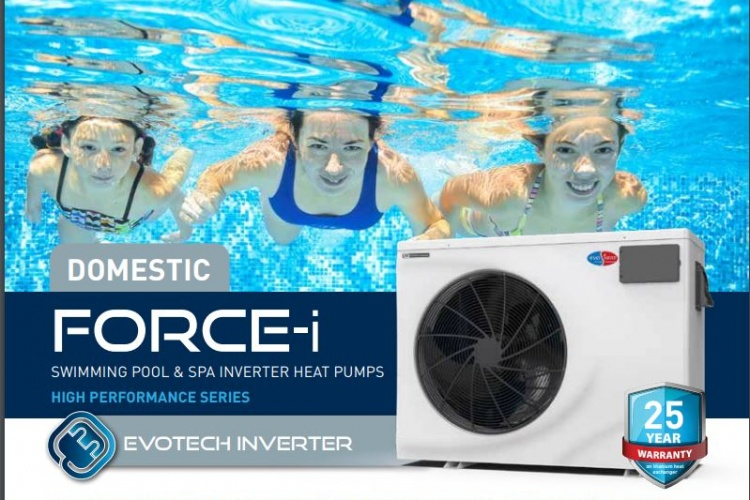 Evo Force-i pool and spa heat pumps with new inveter technology for greater efficency.